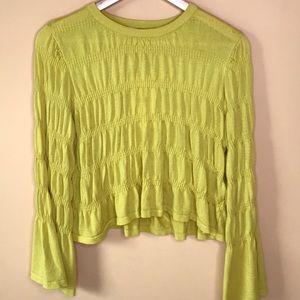 NWT Zara Yellow Crop Blouse Ruffle Bell Sleeve Top